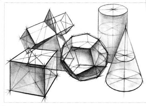 竖线,斜线等 老师示范单个结构素描几何形体,学生能够掌握并准确画出